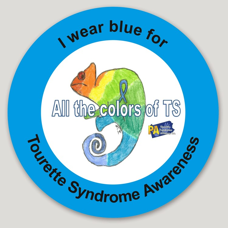 I wear blue for Tourette Syndrome Awareness